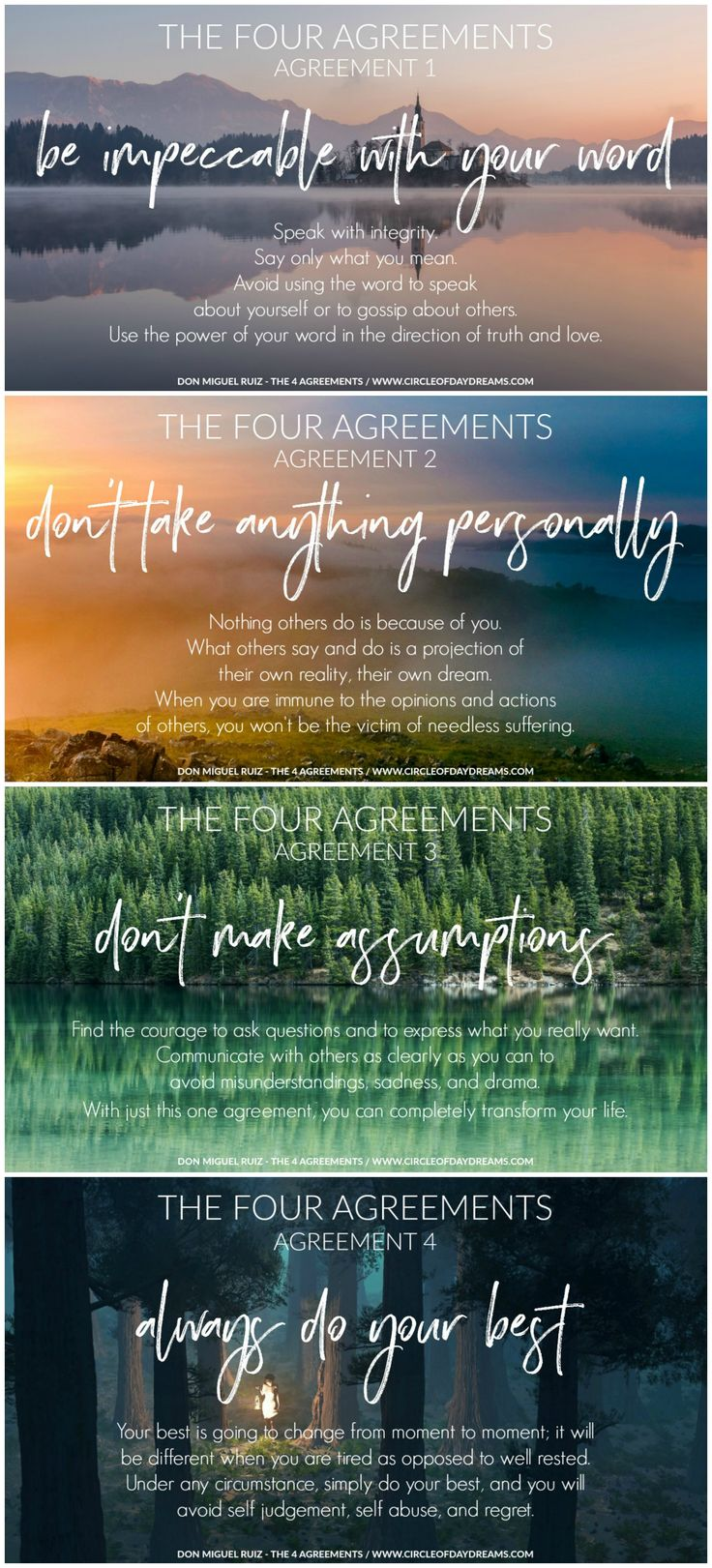 The Four Agreements by Don Miguel Ruiz. See how I use them on www.circleofdaydreams.com