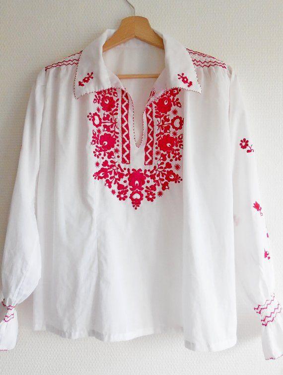 Chemisier Tunique Vintage Blanche Broderies Fleurs Rouge Boho Chic Annees 70 Xl Tunique Vintage Tunique En Coton Chemisier Tunique