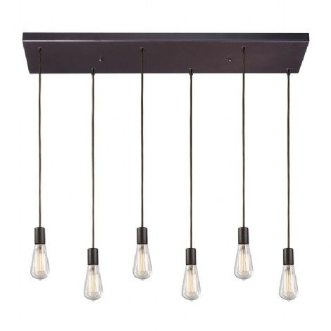 Luminaire rectangle suspendu bronze de forme rectangle a six ampoules ajustables, idéal pour ilot, cuisine ou salle a manger.