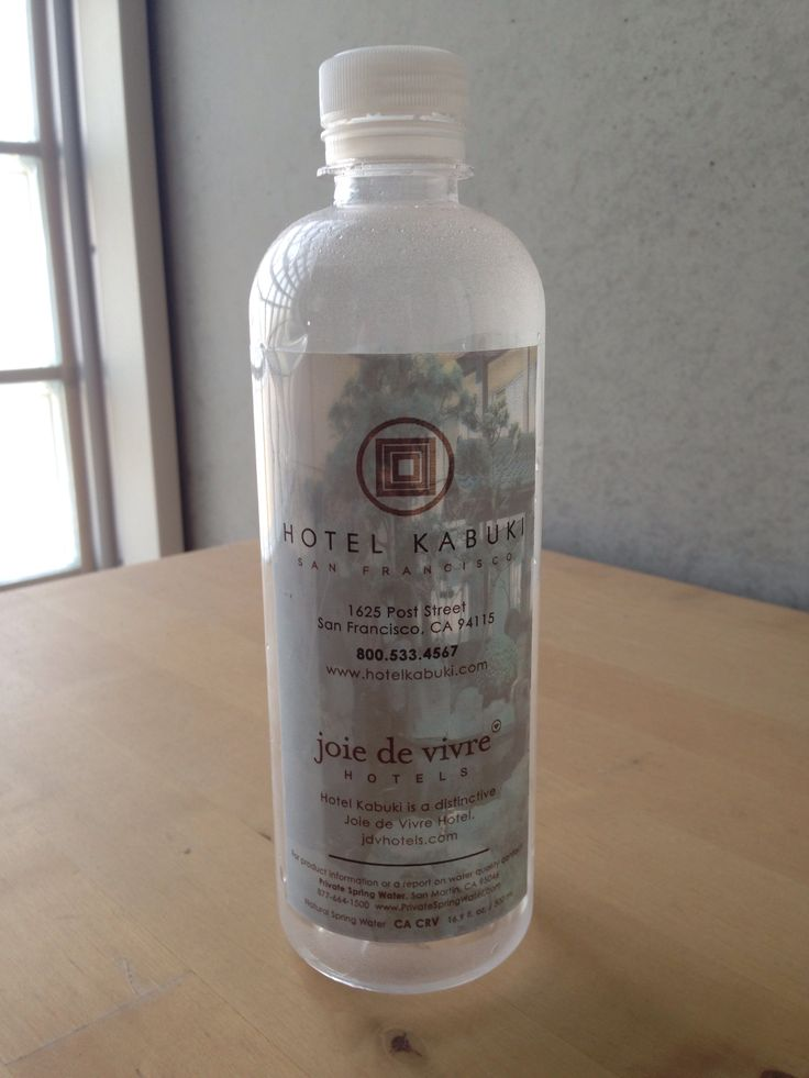 a water bottle of Hotel Kabuki.