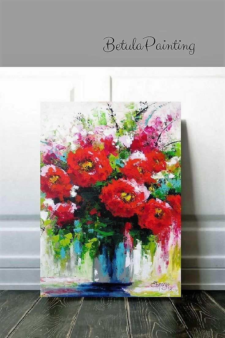 Abstract Art Red Flower Painting Acrylics On Canvases Palette