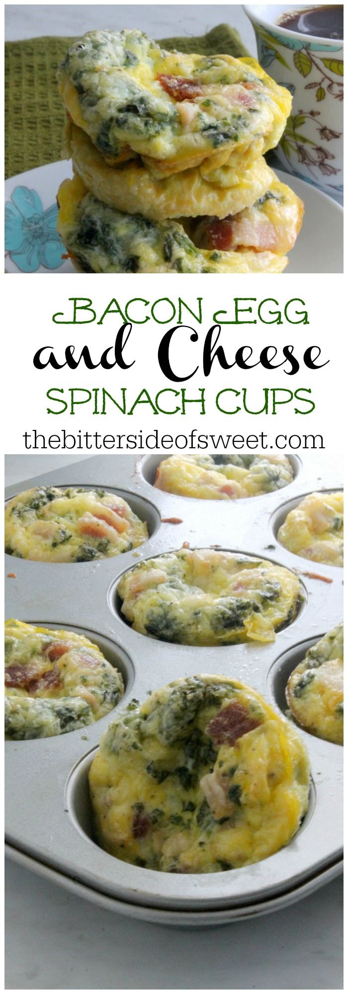 Bacon Egg and Cheese Spinach Cups | The Bitter Side of Sweet #VoteWrightBacon #ad @wrightbacon