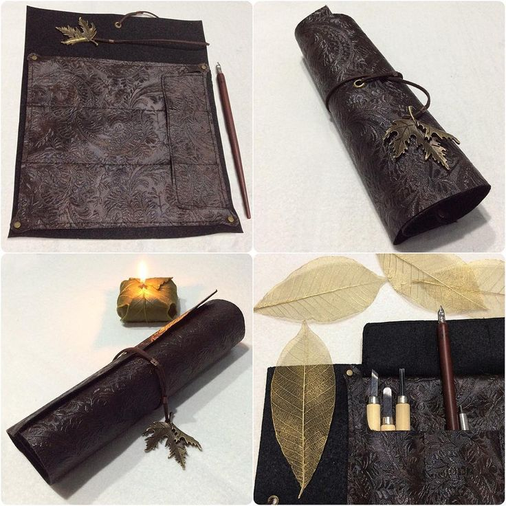 Designed and handsewn Lothlórien themed brown leather scroll with three pockets and leaf embossing.