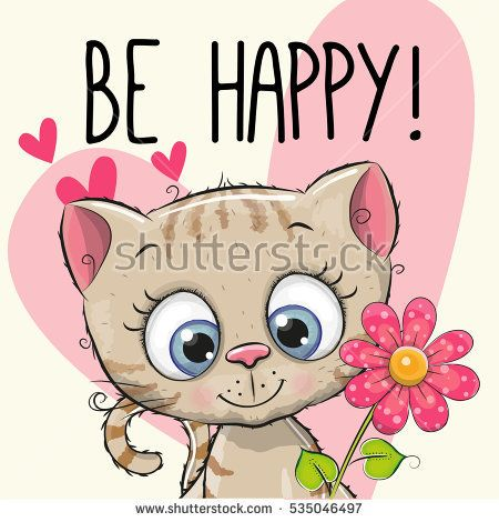 Be Happy Greeting card Kitten with hearts and a flower