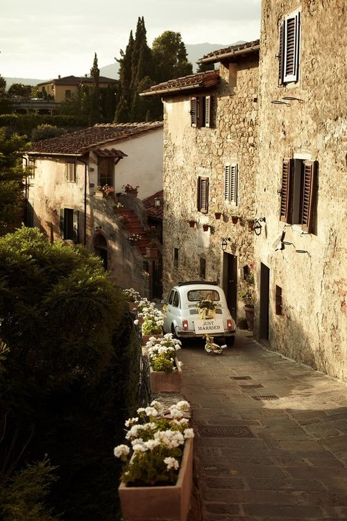 Narrow village streets can even be blocked by a Cinquecento. http://en.wikipedia.org/wiki/Fiat_500