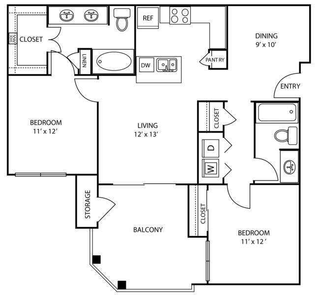 Apartments North Austin Tx The Marquis At Brushy Creek Rendered Floor Plan Austin Apartment Floor Plans