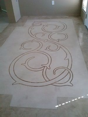 Decorative Concrete Coating in Entry With Stencil and Border over Ceramic Tile