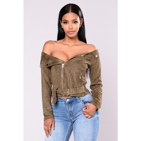 Suede Sway Jacket Olive ($30) ❤ liked on Polyvore featuring outerwear, jackets, green camo jacket, brown jacket, brown suede jacket, olive green jackets and suede jackets