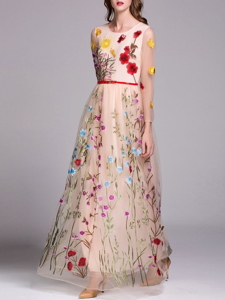 #AdoreWe StyleWe Maxi Dresses - CICI WANG Apricot Floral Swing Elegant Evening Dress with Belt - AdoreWe.com