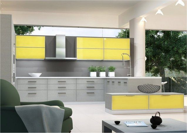 Modern kitchen by greek furniture company centro combining Yellow and gray kitchen decor