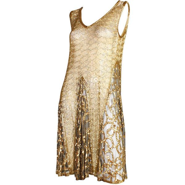 Pre-owned 1920's Gold Beaded & Sequined Dress (5.670 BRL) ❤ liked on Polyvore featuring dresses, short dresses, evening dresses, 1920s dress, vintage cocktail dresses, beige cocktail dress and vintage 1920s dresses