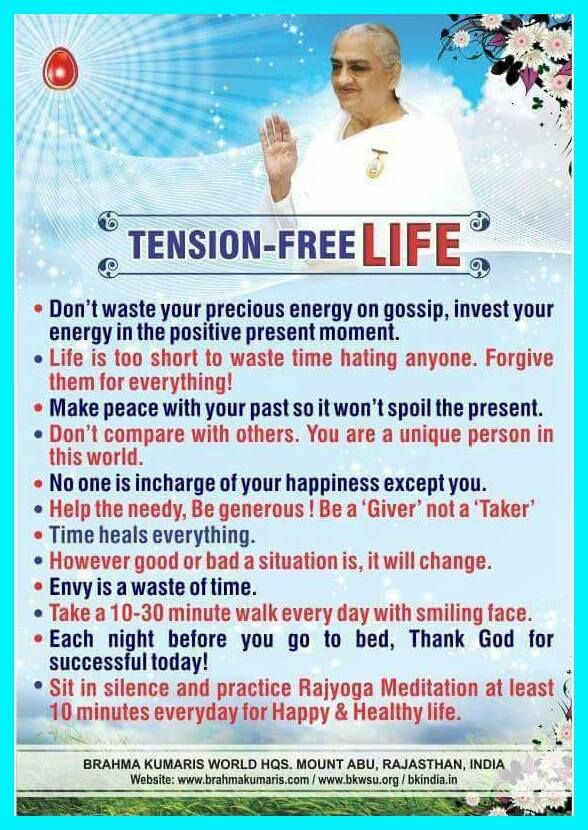 Tension free life through Rajyoga