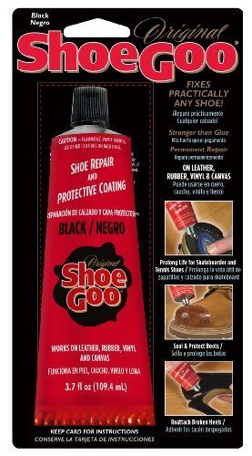 Shoe Goo 3.7 oz. Black Shoe Repair & Protective Coating by Dwindle Distribution. $7.30. FOR LEATHER, VINYL AND RUBBER.. PROLONGS THE LIFE OF YOUR SKATEBOARD & ATHLETIC SHOES.. reattach broken heels & soles.. FIXES ALMOST ANY SHOE AND BOOT.. SEALS AND PROTECHS YOUR BOOTS.. Shoe Goo is a superior adhesive and sealant that easily and permanently repairs all types of footwear. It adheres to all kinds of materials, so you can use this 3.7 oz. tube of clear Shoe Goo to prolong ...