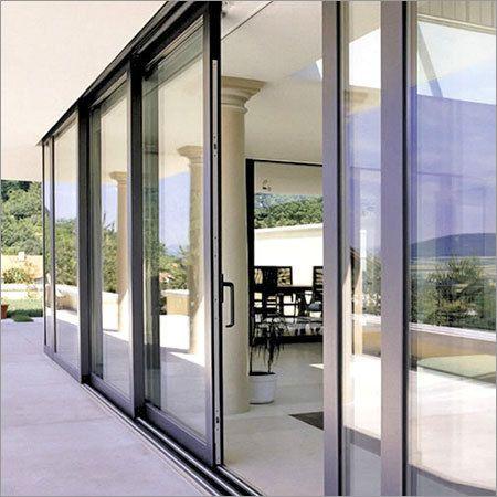 Sliding doors stack onto a fixed end panel. AluminiumSlidingDoor.jpg 450×450 pixels