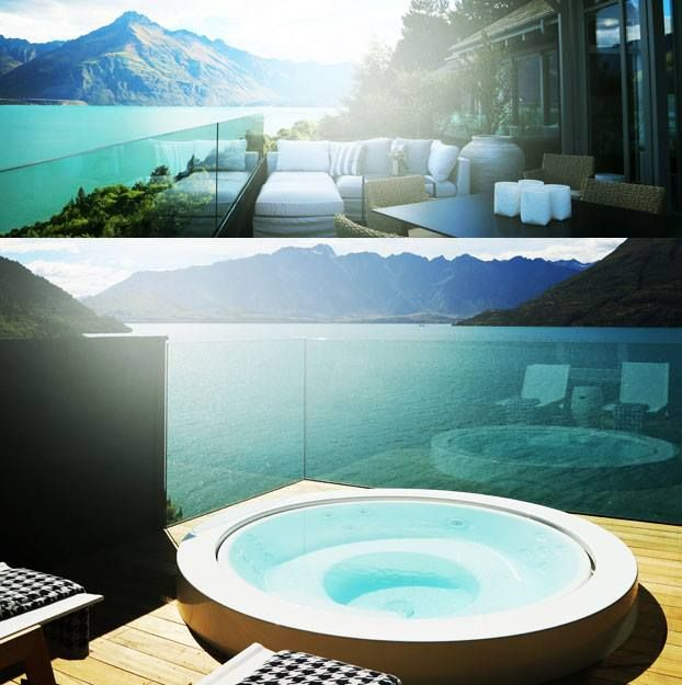 Jacuzzi or alfresco dining on the balcony…romance at Matakauri Lodge's new Owner's Cottage.