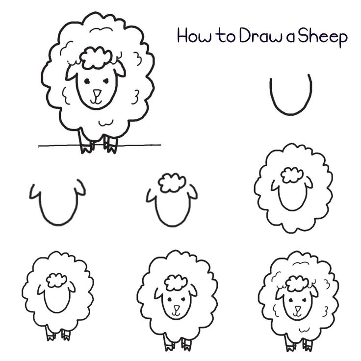 Here's a quick and easy way to draw a sheep that young (or even older) kids will surely enjoy. Step 1: Draw a letter U. Step 2: Draw a curvy letter v on each side. Step 3: Draw a cloud shape …