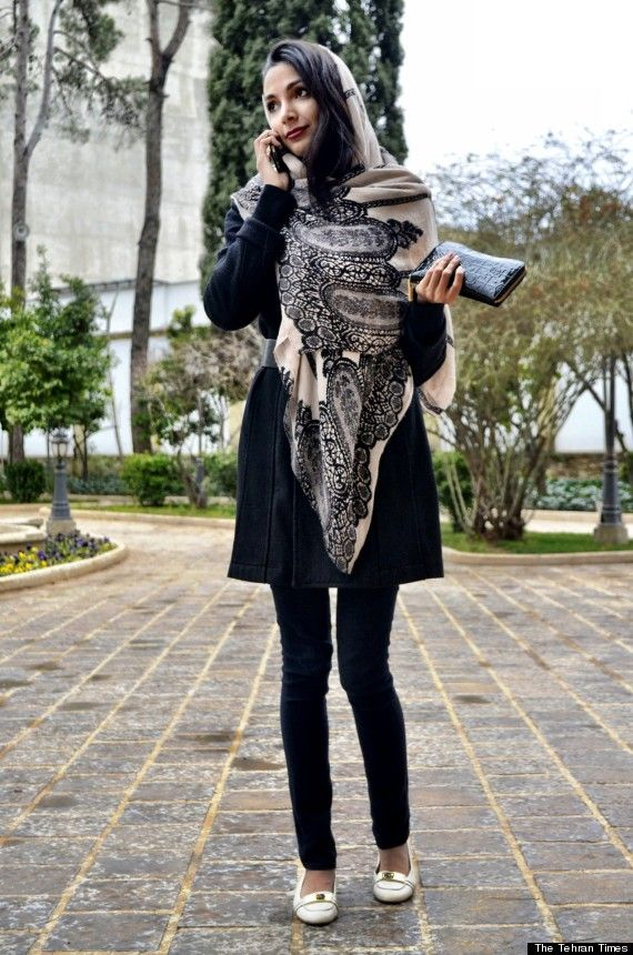 Street style from Tehran (Iran) after new dress code laws were put in place in 2013.  I would totally wear this outfit! Gorgeous scarf