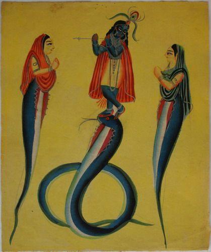 Kalighat collection: Kaliyadamana - Krishna subdues serepent kaliyana. Watercolour on paper. Circa 3rd quarter 19th century. 25.5 x 21.6cm