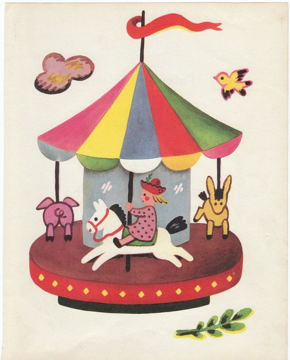 Merry Go Round vintage wall art print 1951 by AnemoneReadsPaperie, $10.00