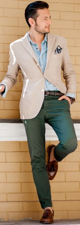 green pants, chambray button down, khaki blazer, loafers