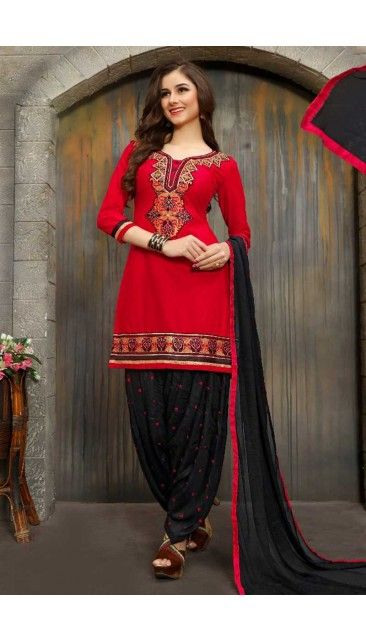 Stylish Red Cotton Patiala Suit With Dupatta - DMV14804