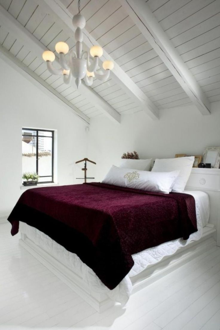 Interesting Small Attic Bed Room Idea With Sloping Ceilig Design Idea Also Red Blanket For White Bed Then Awesome Pendant Lamp. Cozy Small Attic Bedroom Design and Decorating Ideas attic bedroom pictures. attic bedroom conversion. cool attic rooms.