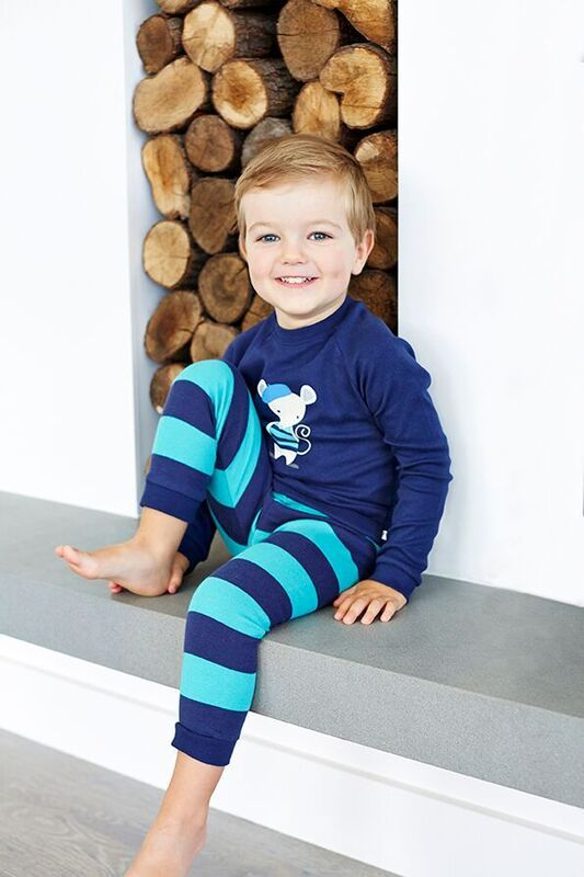 Boys Navy Stipe Mouse PJ