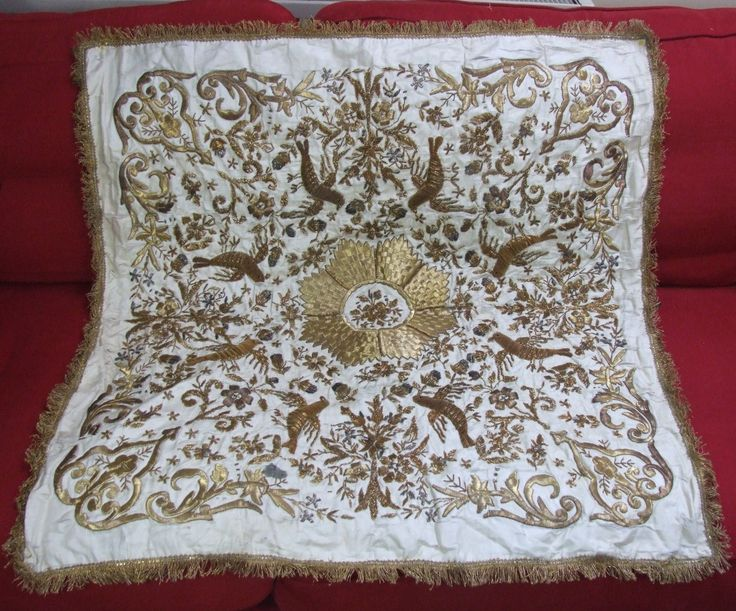 Antique Ottoman Persian Embroidered Silk Panel Opulent Gold Metallic Embroidery | eBay