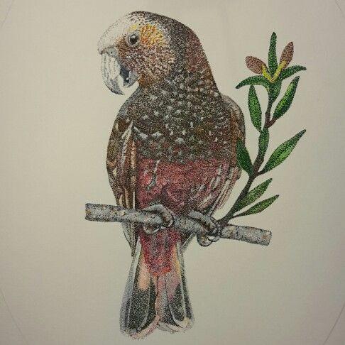 Pointillism Artwork 'Kaka in a Kauri tree' by Kristin Ivill