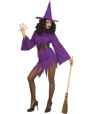 Halloween Kostume Kvinde Billige lilla heks