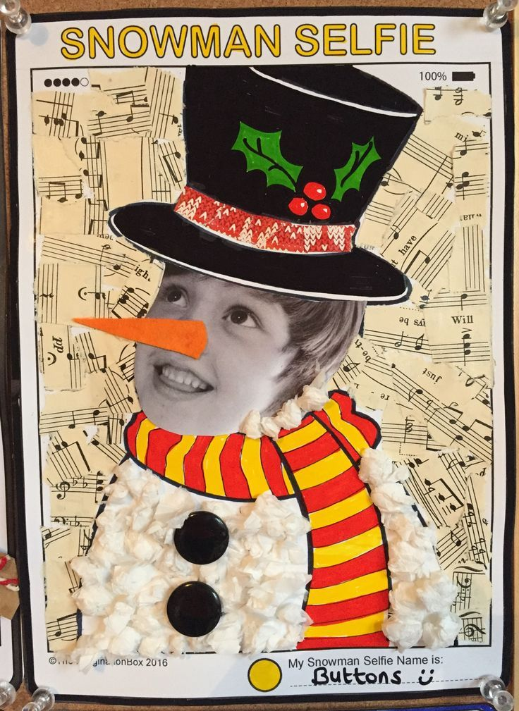 Create a wonderful 'snowman selfie' at home or school with this tech modern tablet style art activity. The creative pack contains 6 other festive characters and greetings card templates