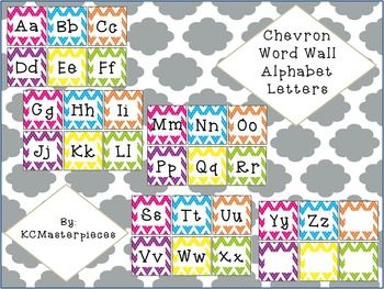 Fun Chevron Word Wall Alphabet letters perfect for your word wall! Just print, cut, and laminate! Both PDF (to print as is) and PNG (to size to your liking) are included! This set also comes bundled in a complete matching Calendar Set which includes: - Weather Cards - Days of the Week Cards - Months of the Year Cards - Numbers 1-100 for calendar numbers or counting to the 100th Day of School - Name Tags or Labels - Class Birthday Cakes Check it out here...
