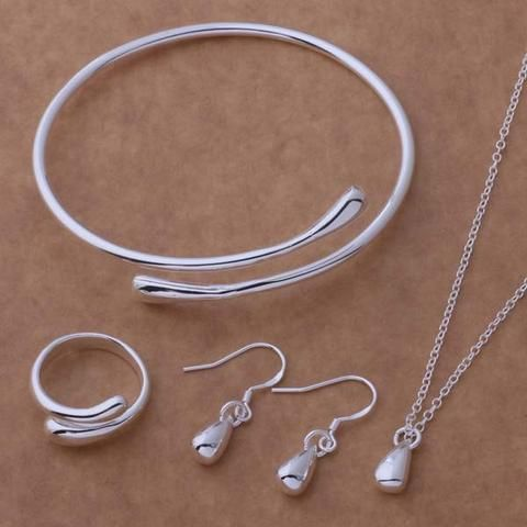 New Silver Plated Jewelry Set Earring + Necklace + Ring  + Bangle