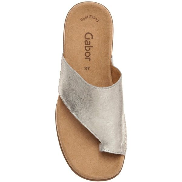 Gabor Lanzarote Leather Loop Toe Slip Ons , Silver (325 MYR) ❤ liked on Polyvore featuring shoes, flat shoes, leather flat shoes, silver evening shoes, gabor shoes and leather slip on shoes