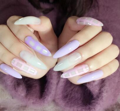 24Pcs Acrylic False Nails Purple Pink Grids Extra Long Pointed Nail Tips