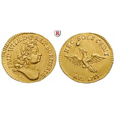 Brandenburg-Preussen, Königreich Preussen, Friedrich Wilhelm I., 1/2 Dukat 1713, vz: Friedrich Wilhelm I. 1713-1740. 1/2 Dukat 1713… #coins