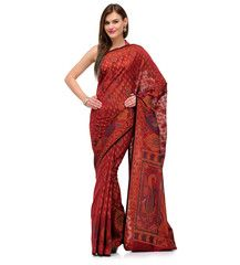 Maroon Banarasi Chanderi Cotton Saree | Fabroop USA | $44.99 |