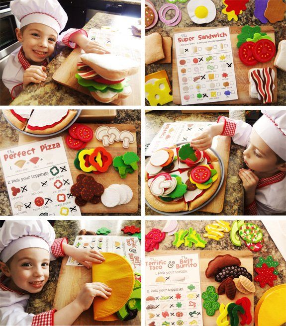 play with felt food to teach and encourage children to make healthy food choices.