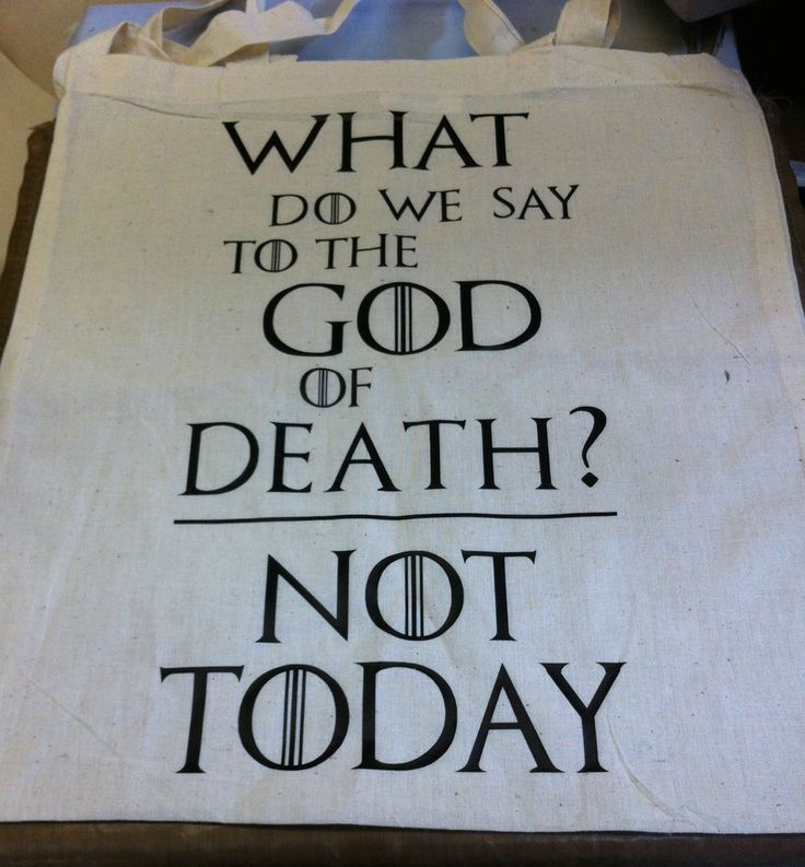 Game of Thrones Canvas Tote Shopping Bag House Stark God of Death Not Today