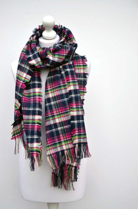 Tartan scarf, plaid blanket scarf, oversize scarf, shawl, hand fringed, plaid wrap, flannel scarf, pink, blue, mothers day, valentines day