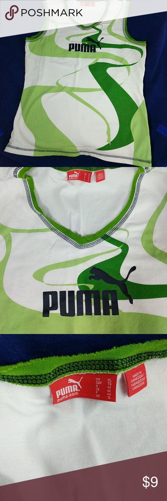 "Puma sleeveless t-shirt XL Puma green and white sleeveless t-shirt.  23"" too to bottom; 18"" arm pit to arm pit.  Slight ink mark near hemline on the lower right side, S shown. Puma Tops Muscle Tees"