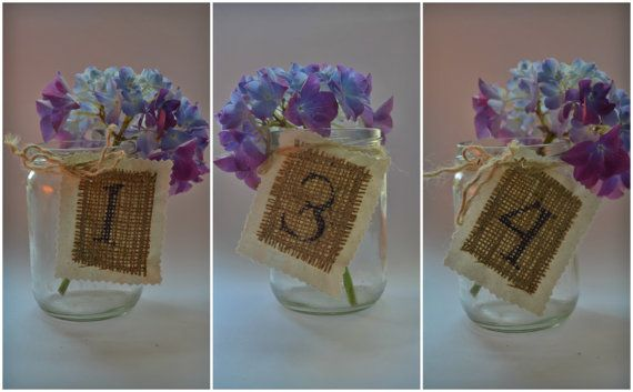 Rustic Fabric Calico Burlap table number tags, Hessian table number, burlap table tag, wedding party centerpiece. Barn Wedding