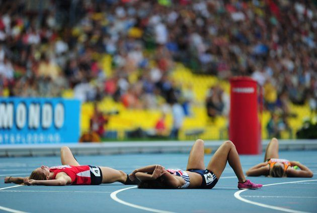 Great Britain's Katarina Johnson-Thompson lies on the floor after the Women's final event in the Heptathlon on day four of the 2013 IAAF World Athletics Championships at the Luzhniki Stadium in Moscow, Russia.