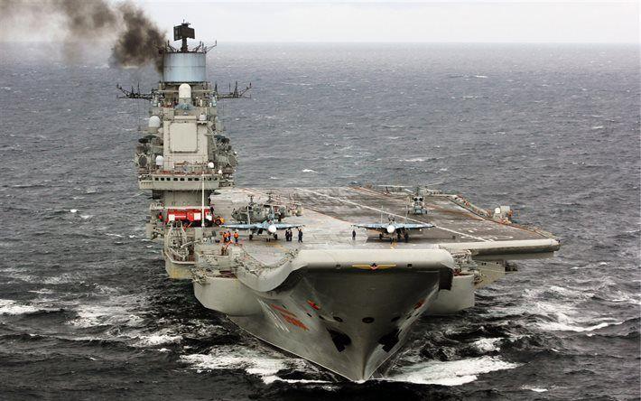 Scarica sfondi portaerei Admiral Kuznetsov, Marina russa, Su-33, Mare