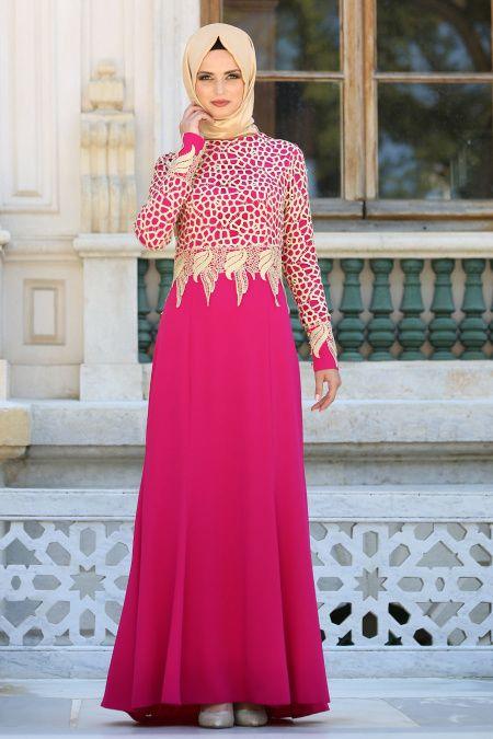 01801ff3fc065 Tesettürlü Abiye Elbiseler - Dantel Detaylı Fuşya Abiye Elbise 2165F ...