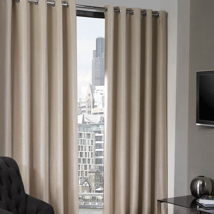 Luxury Textured Natural Cream Eyelet Ring Top Thermal Blackout Curtains 90 Wide X