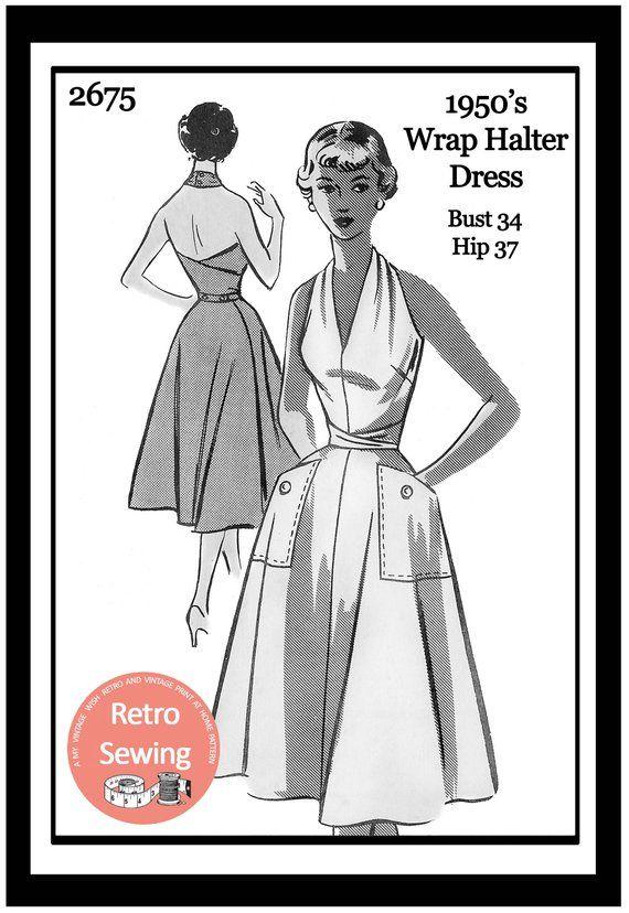 1950s Wrap Halter Dress Sewing Pattern - Rockabilly - Pin Up - PDF ...