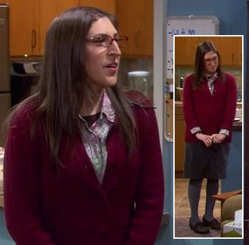 amy and sheldon outfits | Amy's red cardigan with grey pencil skirt and tights on The Big Bang ...