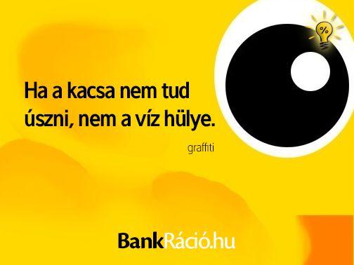 Ha a kacsa nem tud úszni, nem a víz a hülye. - graffiti, www.bankracio.hu idézet