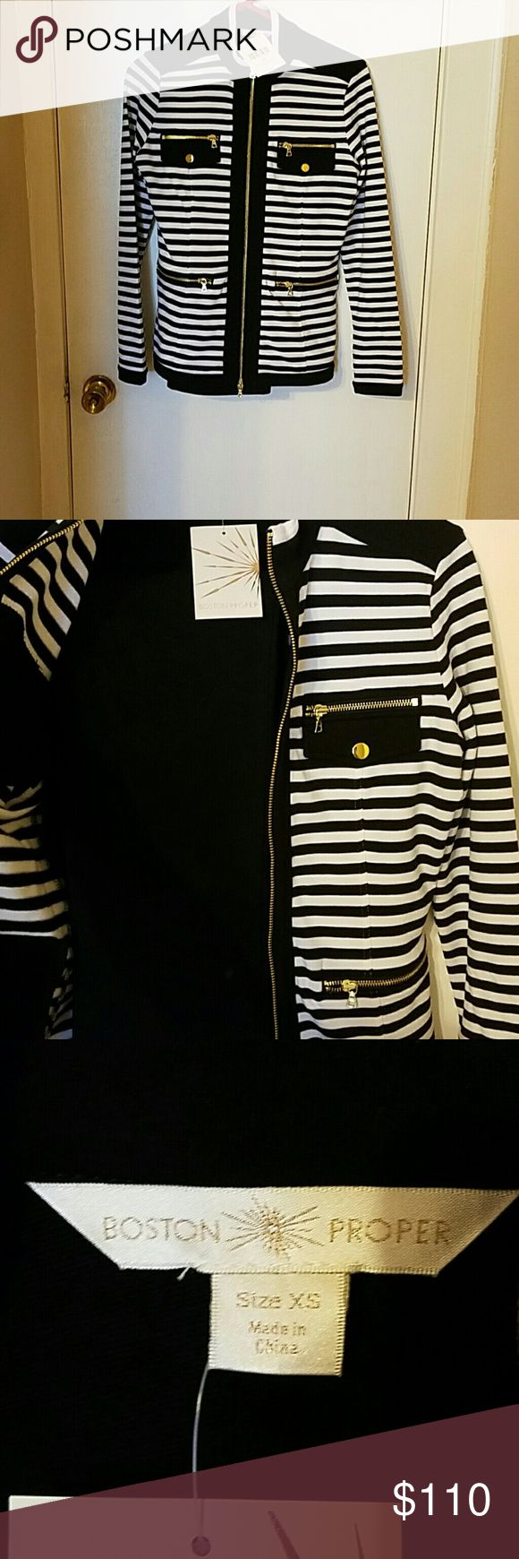 Boston proper black and white coordinates Size XS New with tags. Jacket ( black and white )and black pants. Gold accents. Size XS Boston Proper Other